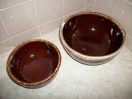 Home Treasure Pottery Servers McCoy Kathy Kale Brown Drip Mixing Bowl Co... - $37.99