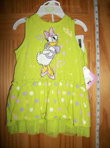 Disney Baby Clothes 6M-9M Daisy Duck Newborn Dress Top Set Hanger Green ... - $14.24