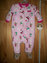 Carter Baby Clothes 0M-3M Newborn Playsuit Pink First Christmas Holiday Sleeper - $12.34