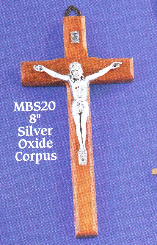 "Wood Crucifix with Silver Corpse - 8"" - MBS20"