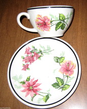 Vtg Syracuse China Flowers Southland Hibiscus Cup & Saucer*Restaurant Wa... - $9.99