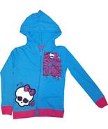 NEW Monster High Skull Safe Pin Glittering Print Ruffle Back Hoodie Jack... - £14.99 GBP