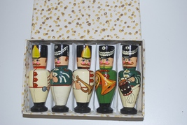 Russian Soldier Wooden Painted Band Ornaments in Box Set Lot of 5 - $29.95