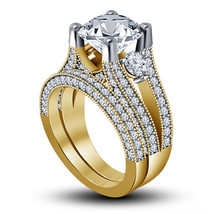 14k Yellow Gold Over 925 Sterling Silver Womens Wedding Bridal Diamond R... - $93.99
