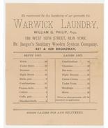 Warwick Laundry William Philip New York advertising price list Jaeger's ... - $8.00