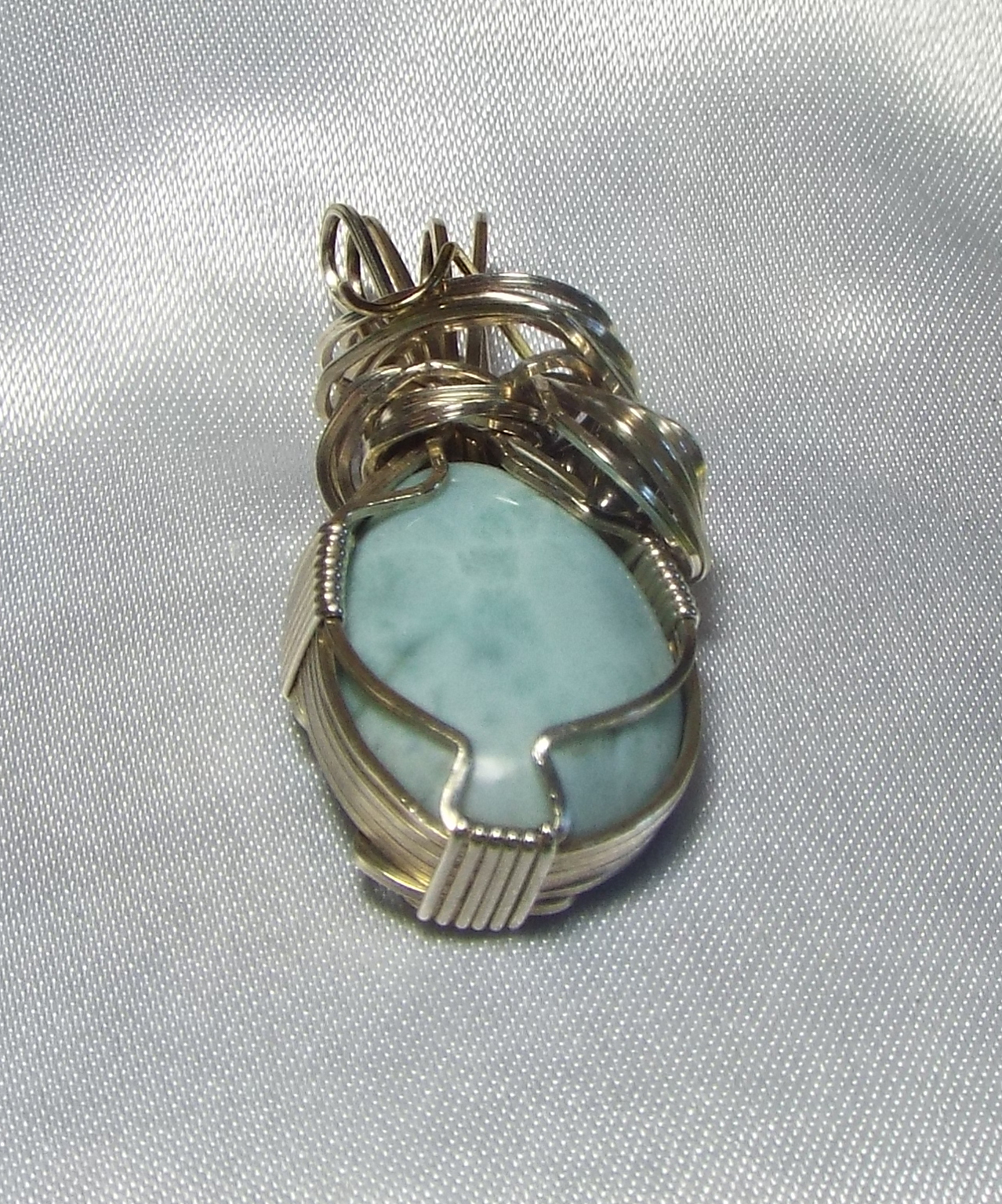 Jewelry By two Gems (Wp34) Sterling Silver Wire Wrap Pendant w Larimar