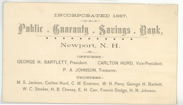 Public Guaranty Savings bank Newport NH advertising business trade card ... - $9.00