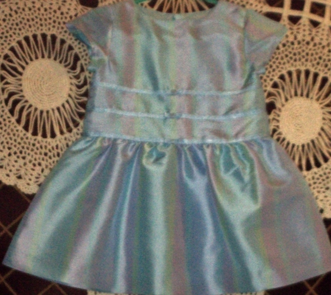 Gymboree Size 6-12 Months 100% Silk Blue Pattern Holiday Portrait Dress