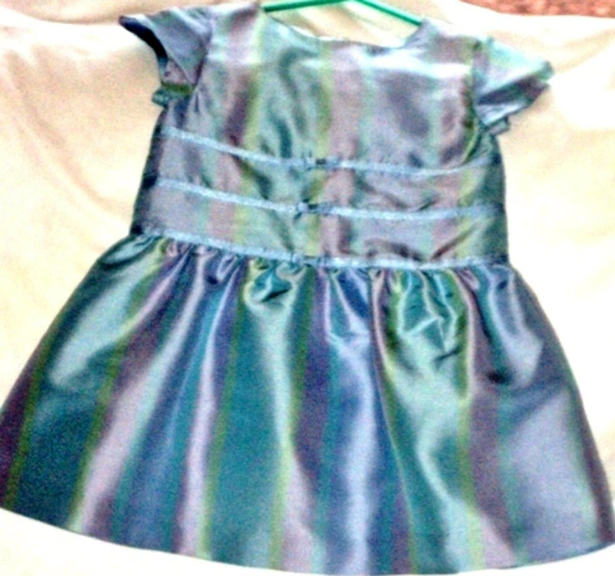 Gymboree Size 6-12 Months 100% Silk Blue Pattern Holiday Portrait Dress