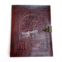Leather Journal Leather Diary Leather Notebook C Lock - Celtic Tree of Life - $24.99