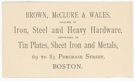 Brown McClure Wales Boston advertising business trade card iron hardware... - $8.00