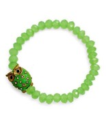 Owl Charm Bracelet Green Beads Crystals Rhinestones Stretch Style Gold P... - $7.91