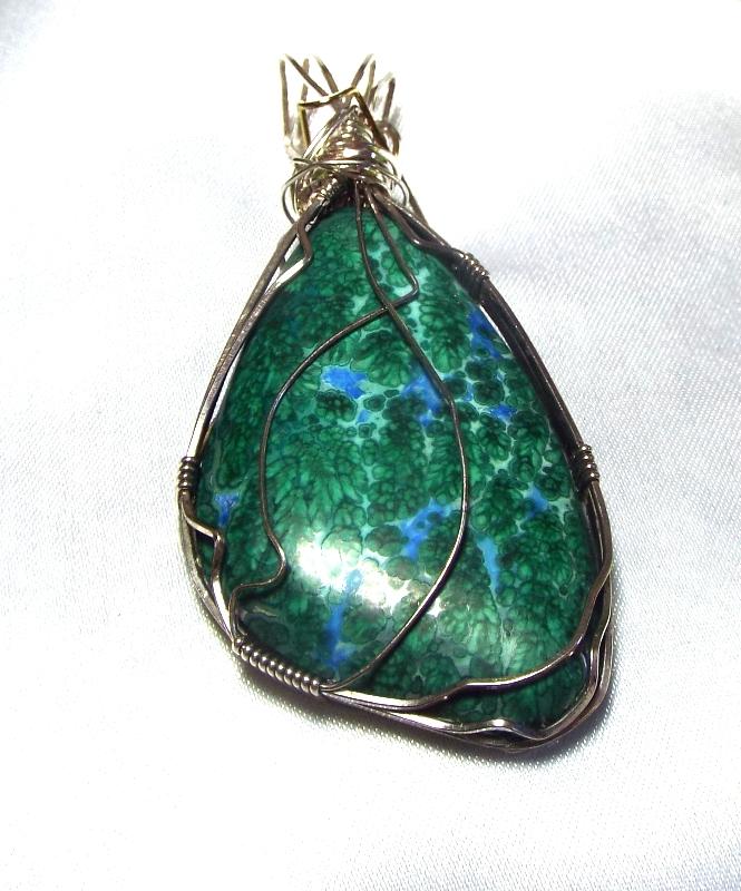 Jewelry By Two Gems (Wp51) Sterling Silver Wire Wrap Pendant w Fernleaf Chrysoco