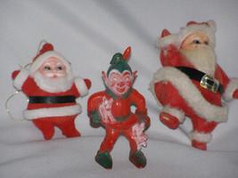 Vintage Two Flocked Santas and One Hard Plastic Elf Ornaments - $12.95