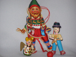 Vintage 70s Wooden Character Christmas Ornaments (3) - $8.65