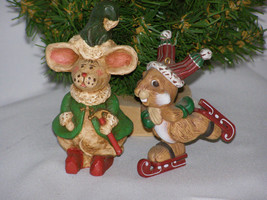 Vintage 1970s Santa Helpers Mouse & Rabbit Character Christmas w/hammer ... - $14.65