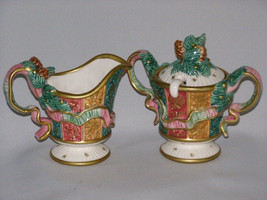 Vintage Fitz and Floyd Creamer Sugar Bowl, Lid and Spoon in the Damask C... - $45.00