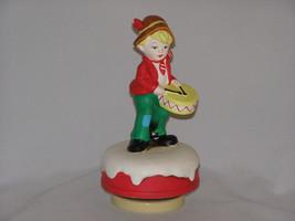 Vintage 1980s Drummer Boy Atop his Mountain Music Box Red Coat Yellow Dr... - $22.65