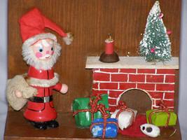 Vintage Santa Delivering Presents Scene on Wood Paddle - $15.00