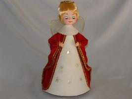 Vintage Revolving Christmas Angel  Musical Decoration Red Velvet Coat Japan - $37.00