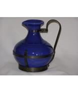 Vintage Gladding McBean Blue Stoneware Pottery Pitcher Black Iron Holder - $62.70