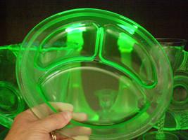 Vintage Uranium Divided Plate Black light tested Ribbon of Small Dots around rim - $14.25