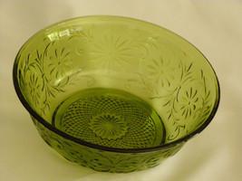 Vintage  Avocado Green Pressed Glass Bowl Vegetables, Noodles, Utility Bowl or j - $9.65