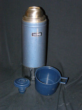 Vintage Thermos 1 Liter Unbreakable Steel Vacuum Bottle No 248OC Gun Med... - $21.50