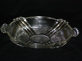"""Vintage Art Deco Shells & Bars Pattern Handled Candy Dish Clear Glass 8"""" - $9.40"""