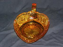 Vintage Small Amber Pressed Glass Creamer Pitcher Sawtooth Pattern Rim - $10.50