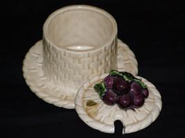 Vintage Jam Sugar Metlox Basket Weave Pattern Sculptured Grapes Retro Sugar Ston - $12.80
