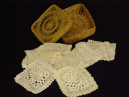 Vintage Hand Made Coasters Set of 12 in Grass Lidded Keeper White Cotton Thread  - $22.95