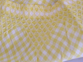 Vintage Yellow Gingham Handmade  Hostess Apron Smocked with Crocheted Edge - $18.50