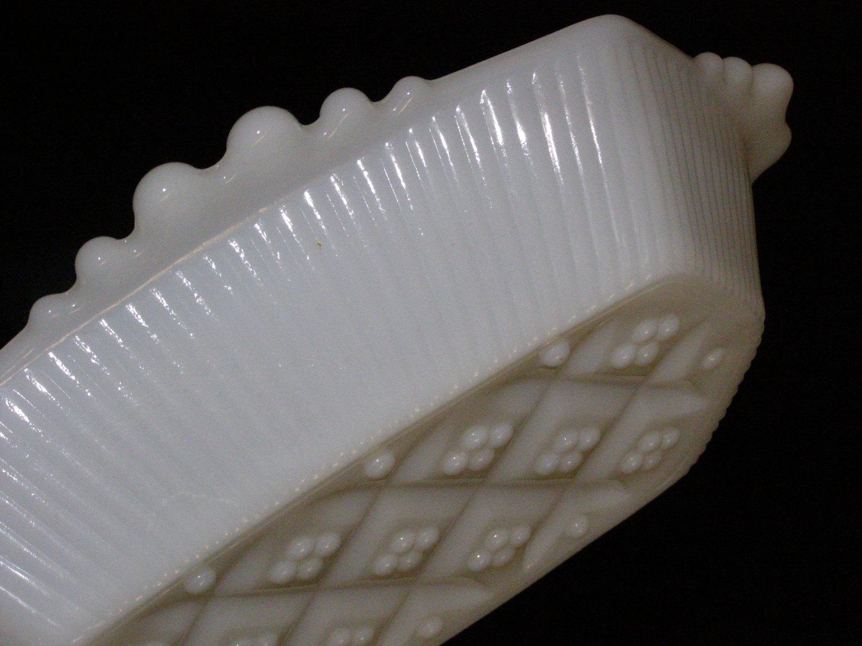 Vintage Hexagonal White Milk Glass Dish Diamond Pattern on the Exterior Bottom - $9.70