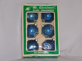 Vintage Mr Christmas Lot of 6 Glass Christmas Ornaments in Box Original ... - $16.50