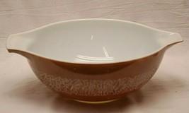 Pyrex Cinderella Bowl #444 Woodland Brown Leaves Design 4 Quart Vintage MCM - $32.66