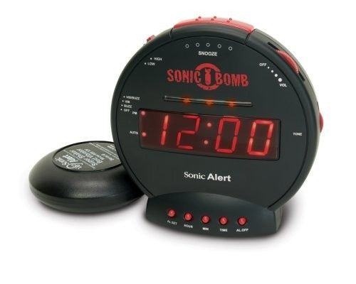 Very Loud Vibrating Alarm Clock Awaken Adjustable The Hardest Sleeper Flashing
