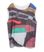 NWOT ZARA Printed Strokes T-shirt size XS in Multicolor 5580/220 - $25.00