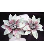 Vintage Enameled Tropical Flower Clip Earrings Large - $19.99