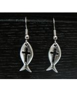 Pewter Fish w/ Cross Earrings - SP - $4.99