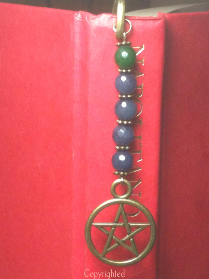 Bookmark blue green jade bronze pentacle b