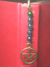 Dangling Green,Blue Jade Beads & Pentacle Antique Bronze Tone Bookmark ... - $10.99