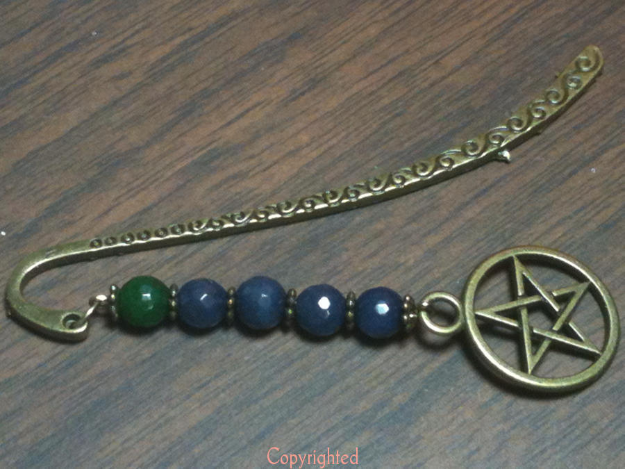 Dangling Green,Blue Jade Beads & Pentacle Antique Bronze Tone Bookmark Handmade