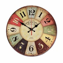 Retro Wall Large Clock Farmhouse Decoration Analog Vintage Rustic Outdoo... - $32.45