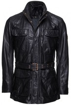 Handmade New Men Stylish Front Multi Pockets Leather Coat with Belted Waist - $169.00