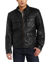 Handmade New Men Stylish Front Four Pockets Leather Jacket, Men Leather ... - $149.00