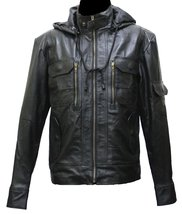 Handmade New Men Stylish Hooded Superb Chic Leather Jacket. Biker Jacket - $159.00