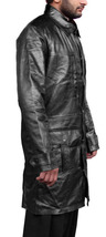 Handmade New Men Stylish Front Multi Pockets Long Leather Coat - $199.00