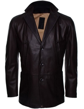 Handmade New Men Stylish Button Closure Classic Long Leather Coat, Men Coat - $169.00