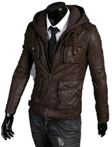 Handmade New Men Stylish Hooded with Multi Pockets Leather Jacket,Leathe... - $149.00